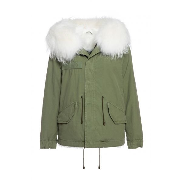 ARMY COTTON CANVAS MINI PARKA WITH FOX FUR LINING