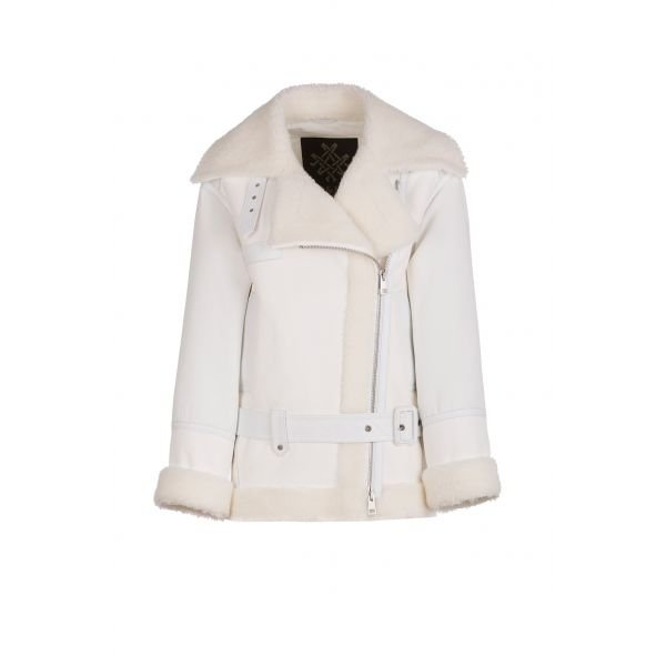 ELIZABETH SULCER'S  SHEARLING AND LEATHER BIKER JACKET FOR WOMAN