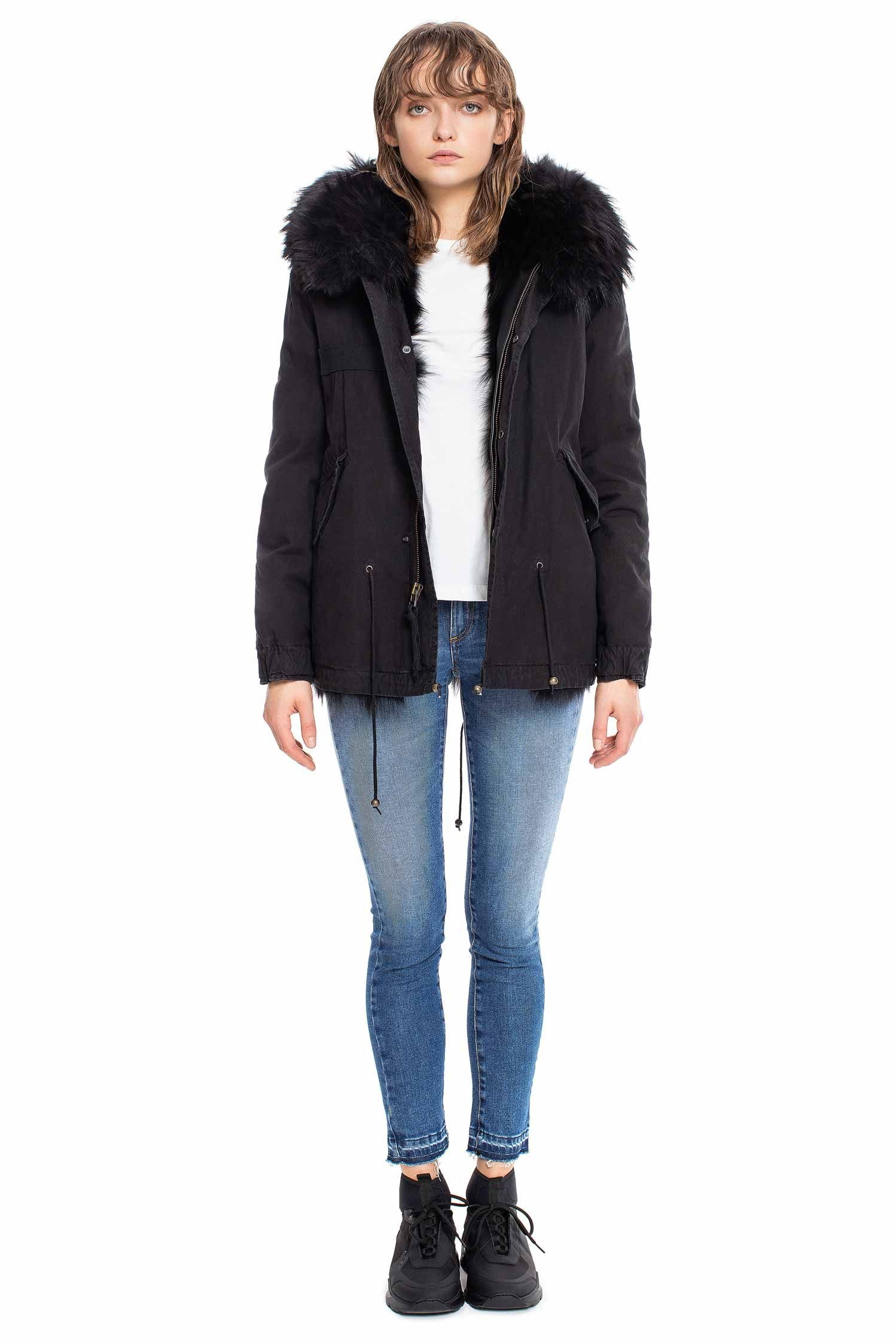 BLACK MINI PARKA WITH PATCH FOX AND RACCOON FUR